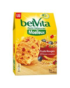 LU BelVita Petit Déjeuner Moelleux Fruits Rouges aux 5 Céréales Complètes 250g (lot de 6)