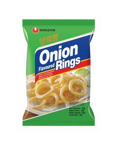 Chips Onion Rings de Corée - Beignets / Rondelles saveur oignon - Marque Nongshim (Corée) - 90G - 4 sachets