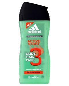 Adidas Active Start 3 en 1 Shower Gel Shampoo Face Wash Pro Vitamin B5 250ml (lot de 6)