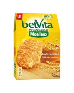 LU BelVita Petit Déjeuner Moelleux Multi Céréales aux 5 Céréales Complètes 250g (lot de 6)