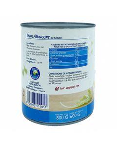 Thon Albacore au Naturel en conserve - Grand format 800g - Pêché en haute mer - Marque Saupiquet - 6 boîtes