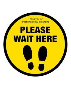Adhésif au Sol de Distanciation Sociale Please Wait Here - Ø 20 cm -