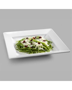 Assiette Carrée en Mélamine Blanc 33,5 à 37,3 cm - Pujadas -    33,5 cm                         37,3 cm