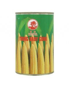 Jeunes pousses de maïs / Minis épis de maïs en conserve - Marque Coq - 425G (Young baby corn) - 4 boîtes