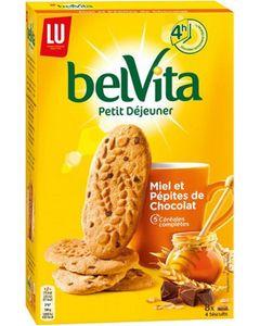 LU BelVita Petit Déjeuner Miel et Pépites de Chocolat 5 Céréales Complètes 400g (lot de 6)