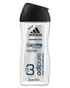 Adidas Shower Gel Adipure Pure Performance 3 en 1 Body Hair Face 250ml (lot de 6)