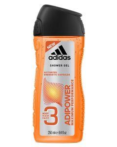 Adidas Shower Gel Adipower Maximum Performance 3 en 1 Body Hair Face 250ml (lot de 6)