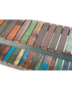 Banc Persienne bois recyclé 122x29x49 - Amadeus