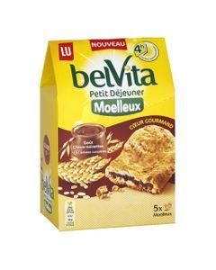 LU BelVita Petit Déjeuner Moelleux Coeur Gourmand Goût Choco-noisettes aux 5 Céréales Complètes 250g (lot de 6)