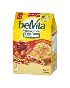 LU BelVita Petit Déjeuner Moelleux Coeur Gourmand Fraise aux 5 Céréales Complètes 250g (lot de 6)